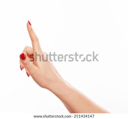 Hand point finger one with red nails on white background  - stock photo