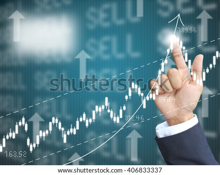 hand point graph - stock photo