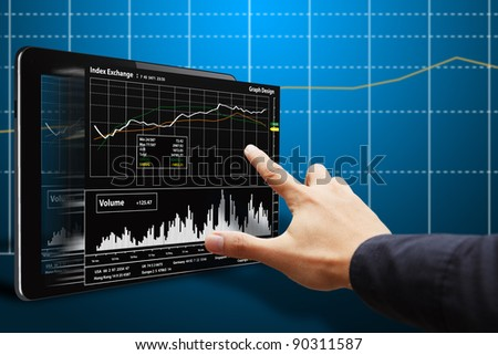 Hand point to 3D report Graph on Tablet - stock photo