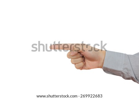 Hand point with finger isolated on white background - stock photo