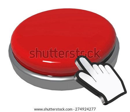 hand pointer cursor , red computer button, put your text here, background - stock photo