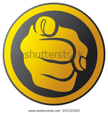 hand pointing button (hand pointing icon, finger pointing button, finger pointing icon) - stock photo