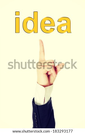 Hand pointing on idea, isolated on white background  - stock photo