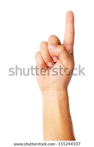 Hand pointing symbol isolated on white background - stock photo