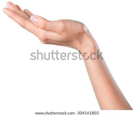 Hand pointing up isolated - stock photo