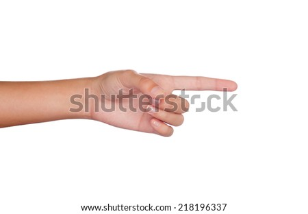 Hand pointing with index fingers at something isolated on white background - stock photo