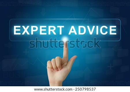 hand press on expert advice button on virtual screen - stock photo