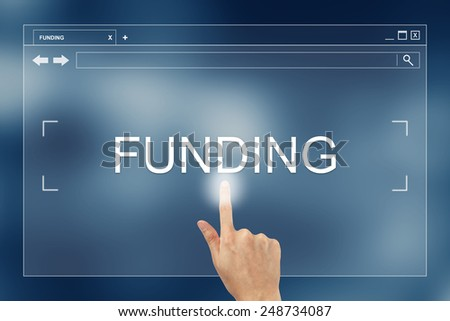hand press on funding button on webpage - stock photo