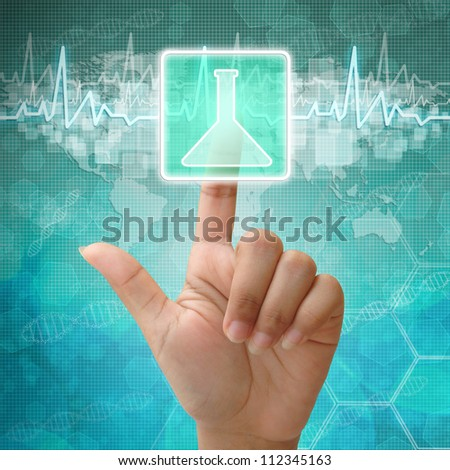 Hand press on glass flasks icon ,medical background - stock photo