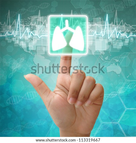 Hand press on Lung Symbol ,medical background - stock photo