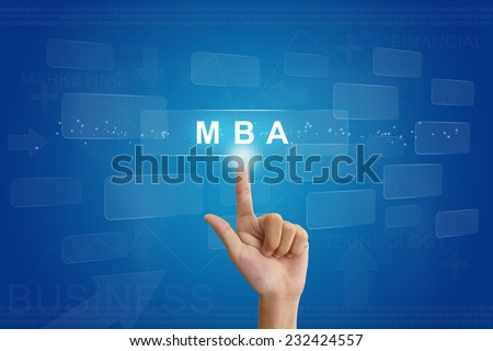 hand press on MBA or Master of Business Administration button on virtual screen - stock photo
