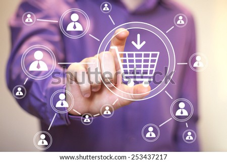 Hand press on shopping cart web icon - stock photo