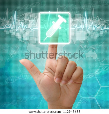 Hand press on Syringe icon,medical background - stock photo