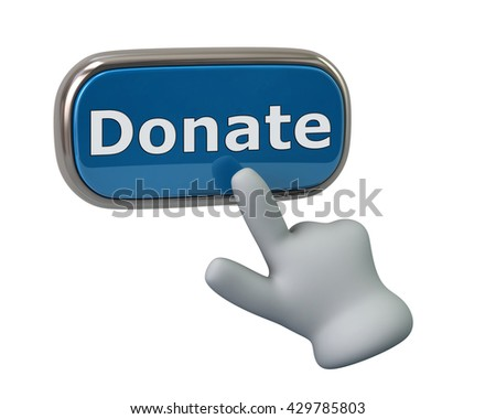 Hand pressing blue donate button isolated on white background - stock photo
