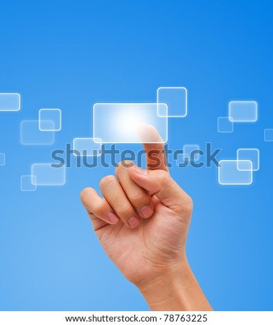 Hand pressing button on the flow of button - stock photo