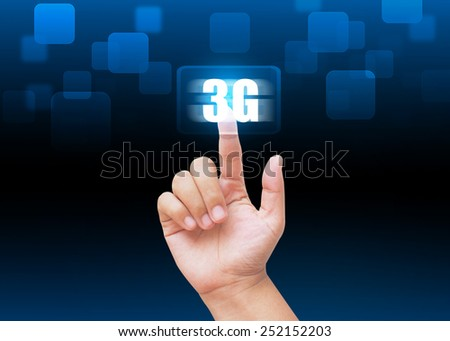 Hand pressing 3G buttons with technology background  - stock photo