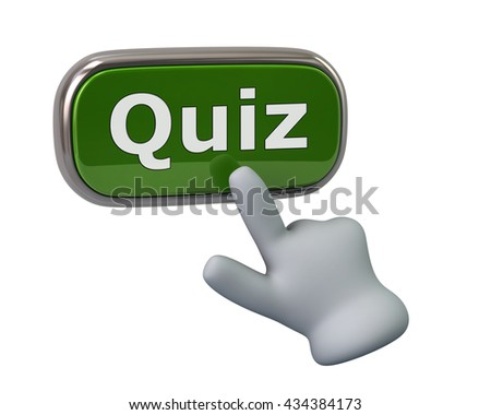 Hand pressing green quiz button isolated on white background - stock photo