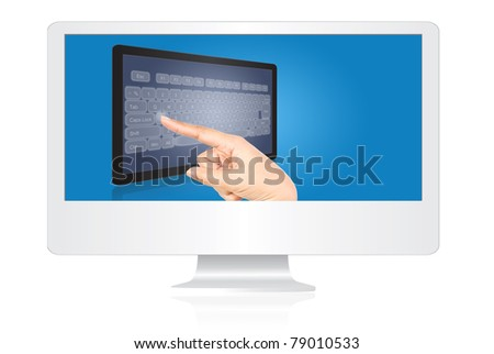 Hand pressing keyboard on the tablet screen in the monitor isolate on the white. - stock photo