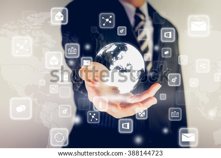 Hand pressing modern multimedia teamwork type buttons on network concept structure,Businessman  - stock photo