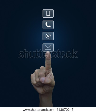 Hand pressing telephone, mobile phone, at and email buttons over blue background, Customer support concept - stock photo