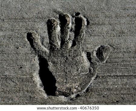 Hand print in Concrete - stock photo