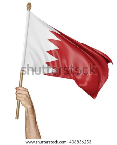 Hand proudly waving the national flag of Bahrain, 3D rendering - stock photo