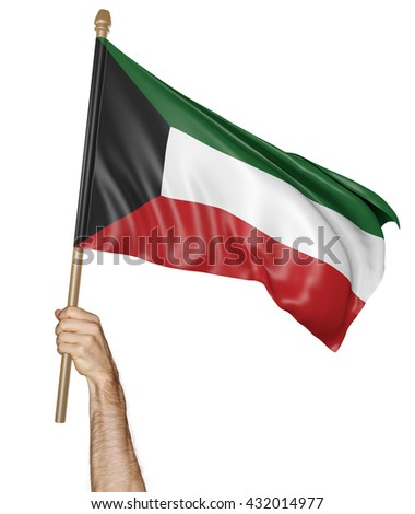 Hand proudly waving the national flag of Kuwait, 3D rendering - stock photo