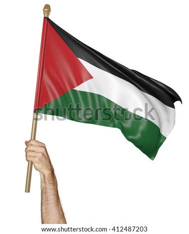 Hand proudly waving the national flag of Palestine, 3D rendering - stock photo
