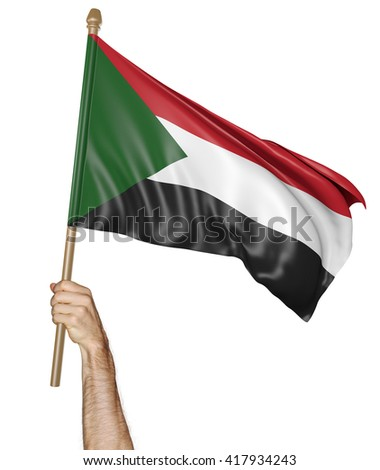 Hand proudly waving the national flag of Sudan, 3D rendering - stock photo