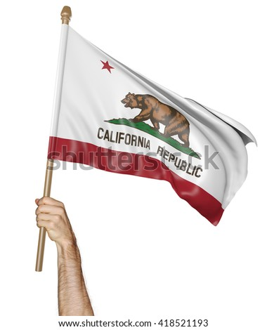 Hand proudly waving the state flag of California, 3D rendering - stock photo