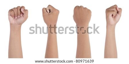 Hand punching isolated on white background - stock photo