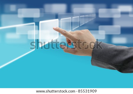 hand push on technology virtual touch screen interface - stock photo