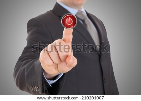 hand push red stop button - stock photo