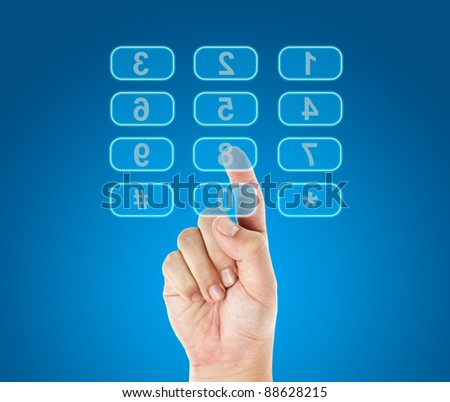 Hand push reverse telephone buttons - stock photo