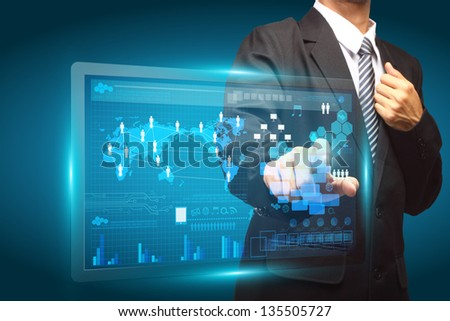Hand pushing a button on a touch screen interface, Technology business concept creative network information process diagram - stock photo
