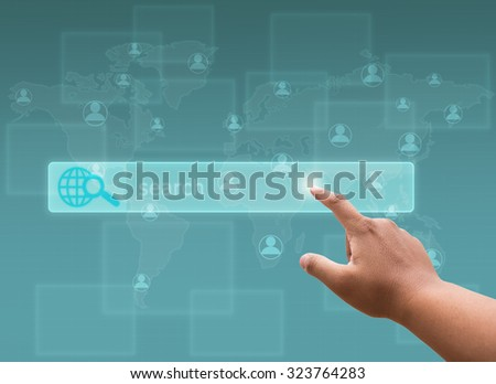 hand pushing a button on a touch screen interface with social network - stock photo