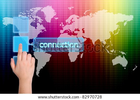 hand pushing connection button on a touch screen interface - stock photo