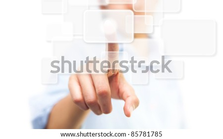 Hand pushing touch screen button, isolate on white background - stock photo