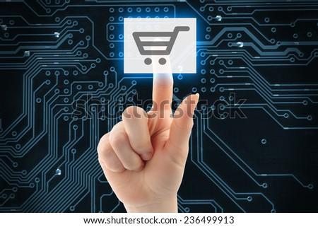 Hand pushing virtual shopping button on digital background   - stock photo