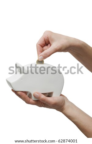 hand putting one coin in a piggy bank - stock photo