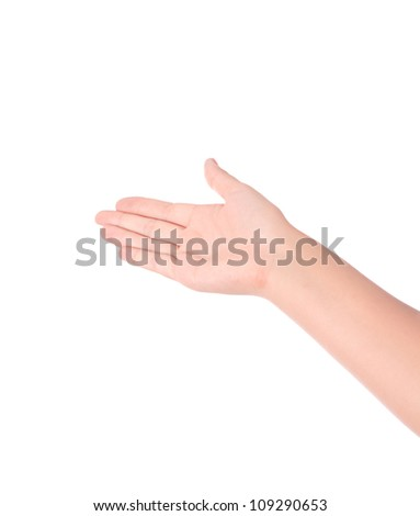 Hand raise for receive something on white background - stock photo
