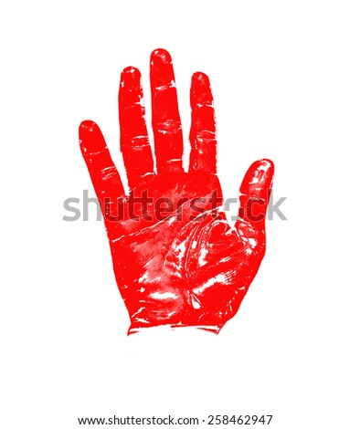 Hand red striped sign isolated on white background - stock photo