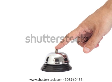 Hand ringing in service bell isolated on white - stock photo