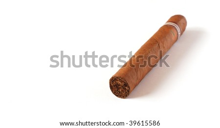 Hand rolled Cuban Cigar on a white background - stock photo