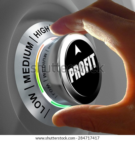 Hand rotating a button and selecting the level of profit. This concept illustration is a metaphor for choosing the level of profit. Three levels are available: low, medium and high. - stock photo