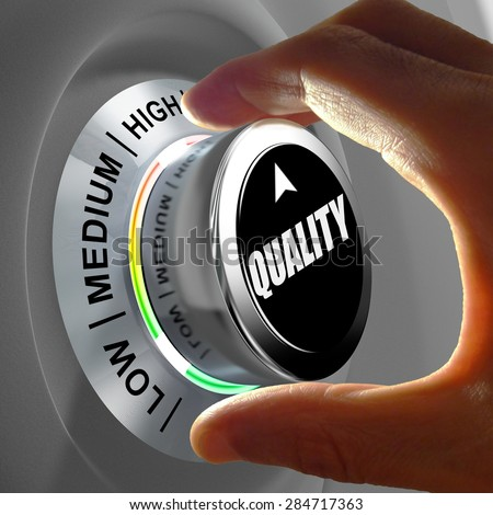 Hand rotating a button and selecting the level of quality. This concept illustration is a metaphor for choosing the level of quality. Three levels are available: low, medium and high. - stock photo