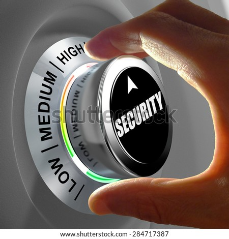 Hand rotating a button and selecting the level of security. This concept illustration is a metaphor for choosing the level of security. Three levels are available: low, medium and high. - stock photo