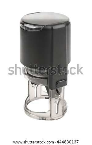 Hand round automatic stamp, matte black. Isolated on white background. - stock photo