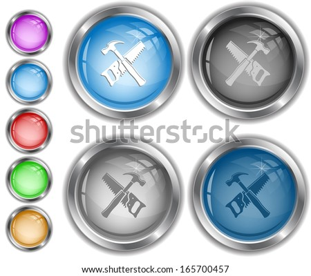 Hand saw and hammer. Raster internet buttons.  - stock photo
