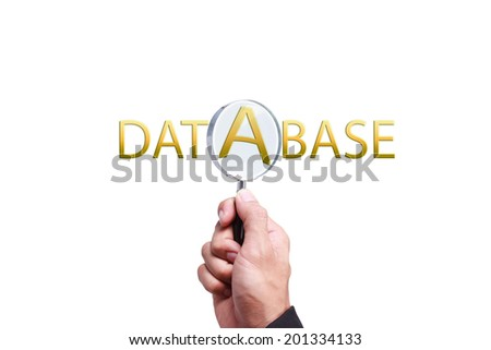 hand searching database word by magnifying glass with business concept - stock photo